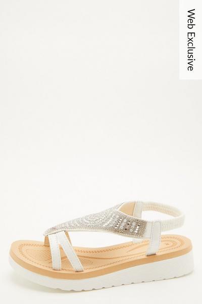 White Diamante Wedges